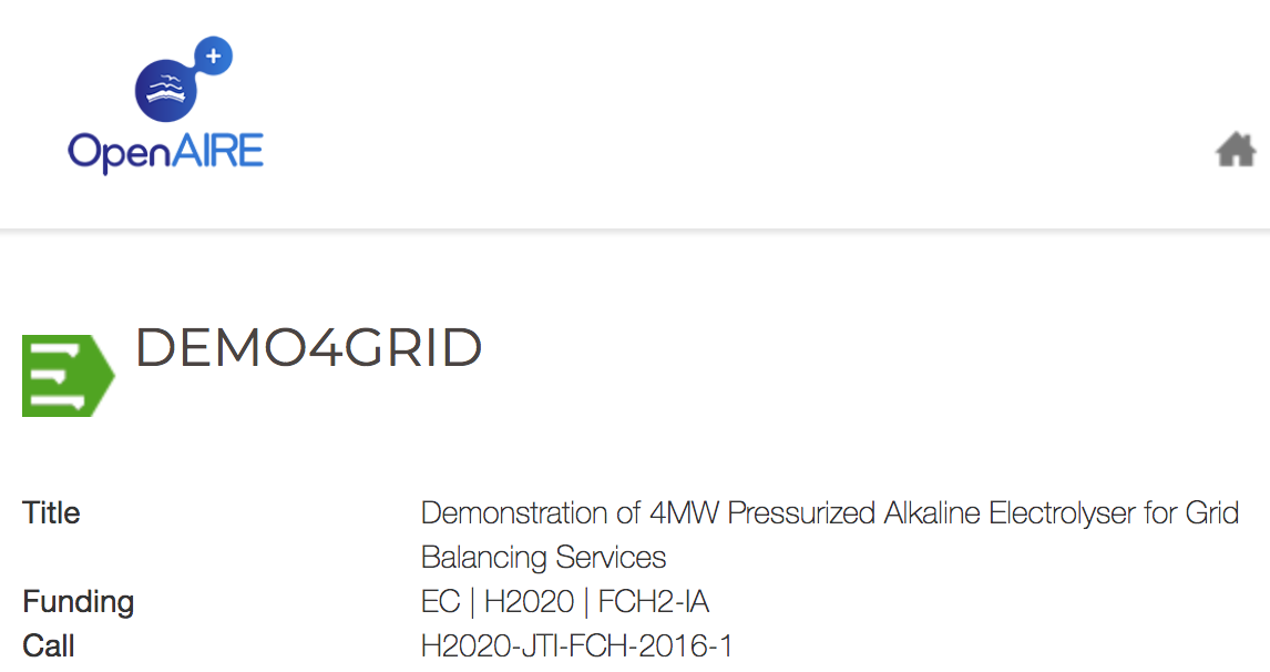 Demo4Grid Demonstration of 4MW Pressurized Alkaline Electrolyser for Grid Balancing Services