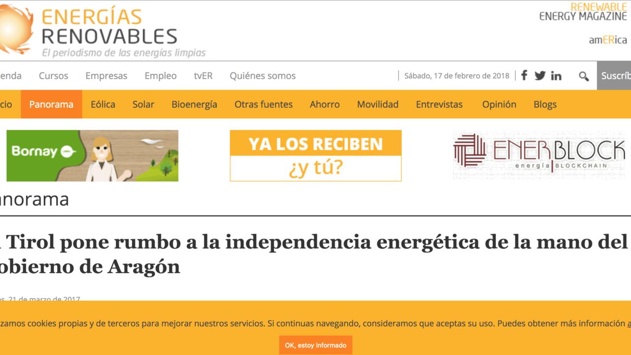 El Tirol pone rumbo a la independencia energética de la mano del Gobierno de Aragón