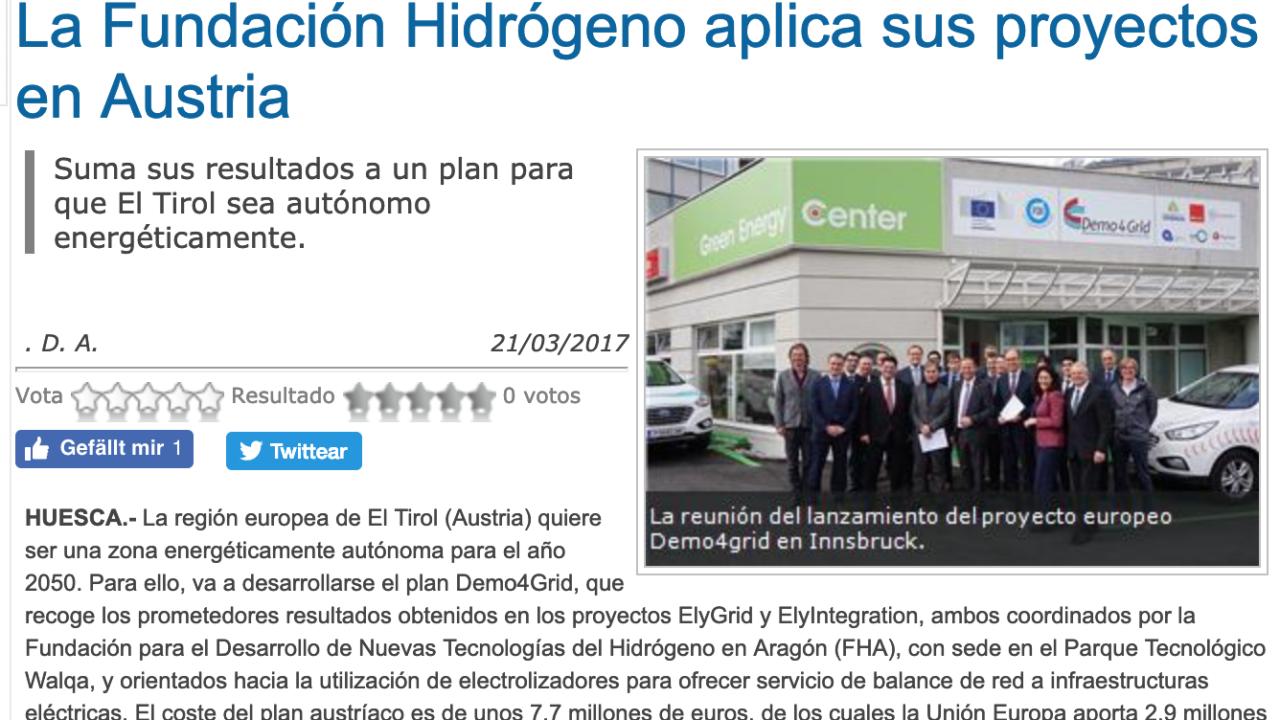 La Fundación Hidrógeno aplica sus proyectos en Austria