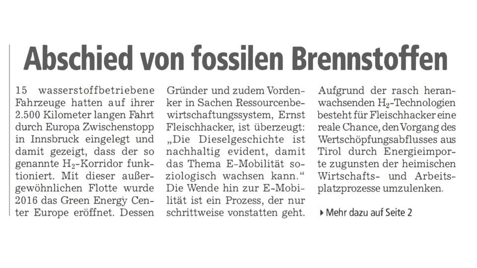 Abschied von fossilen Brennstoffen