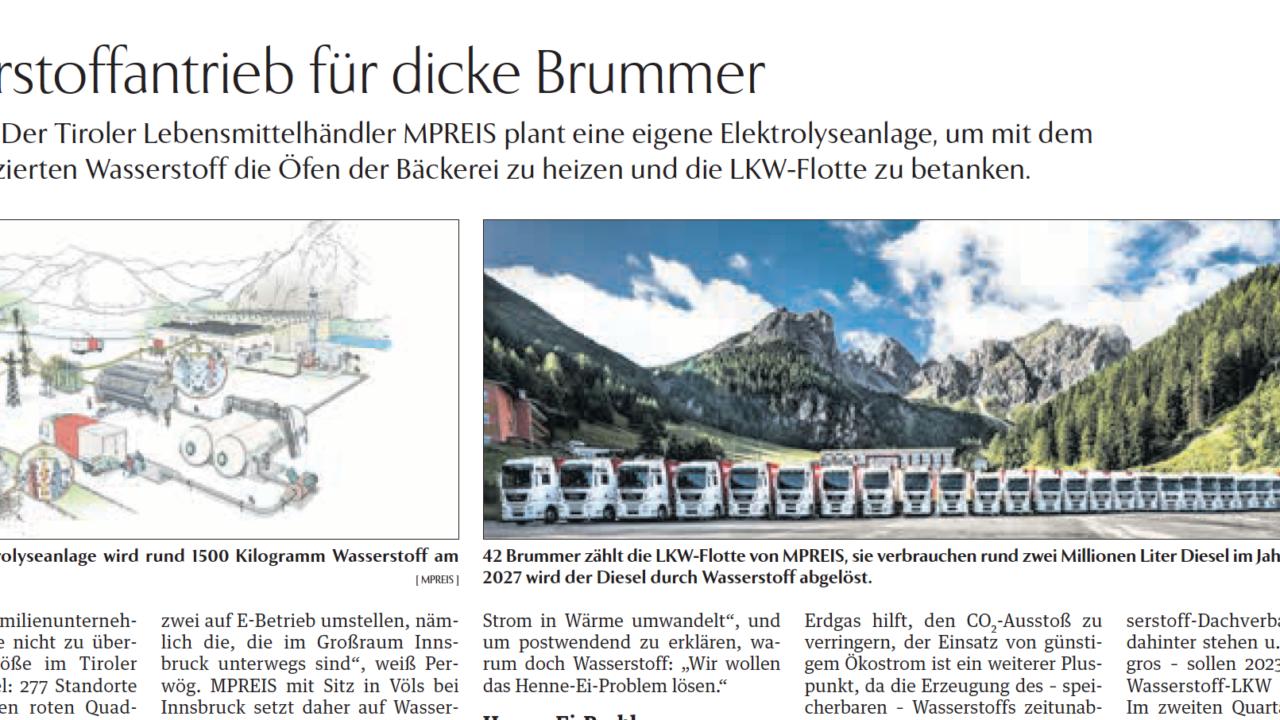 MPREIS plant eine eigene Elektrolyseanlage, um mit dem selbst produzierten Wasserstoff die Öfen der Bäckerei zu heizen und die LKW-Flotte zu betanken