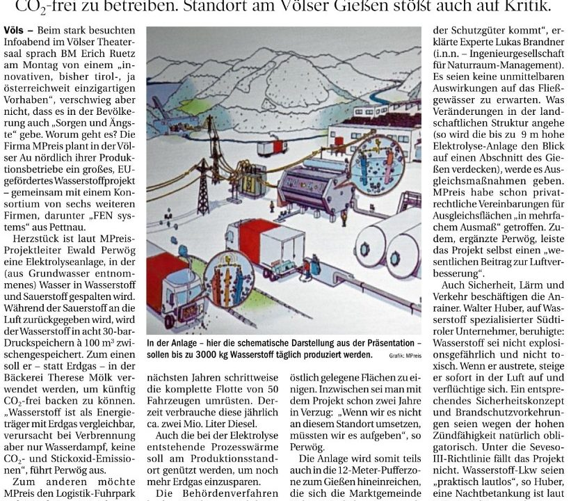Hydrogen for MPREIS provides a topic for discussions in the Community of Völs near Innsbruck …